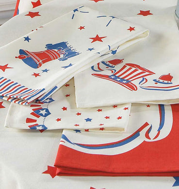 Vintage Patriotic designs - set of 4 tea towels