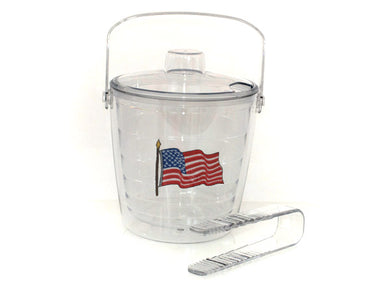 Flag Tervis ice bucket with tongs