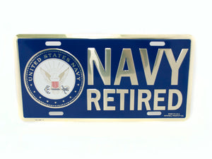 Navy Retired license plate
