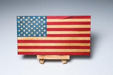 Veteran-Made Wooden Flag - full color desktop size