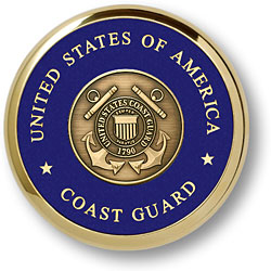 Coast Guard Shield Brass Paperweight Coaster