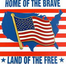 Home of The Brave flag card and pin