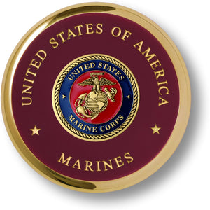 Marine Corps Seal Brass Paperweight Coaster