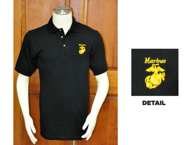 Marine golf shirt - black