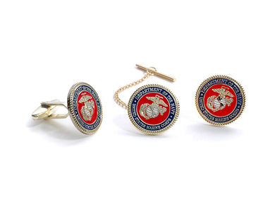 Marine Tie Tack and Cufflink set
