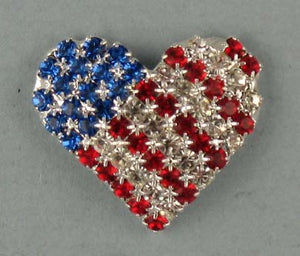 Stars and Stripes Heart rhinestone pin
