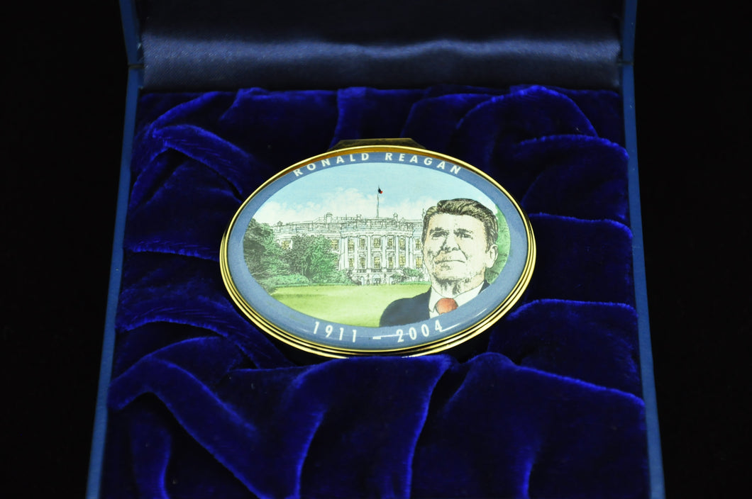Bilston & Battersea Ronald Reagan enamel box - RARE