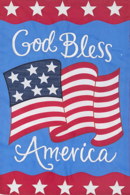 God Bless America Applique Garden Flag