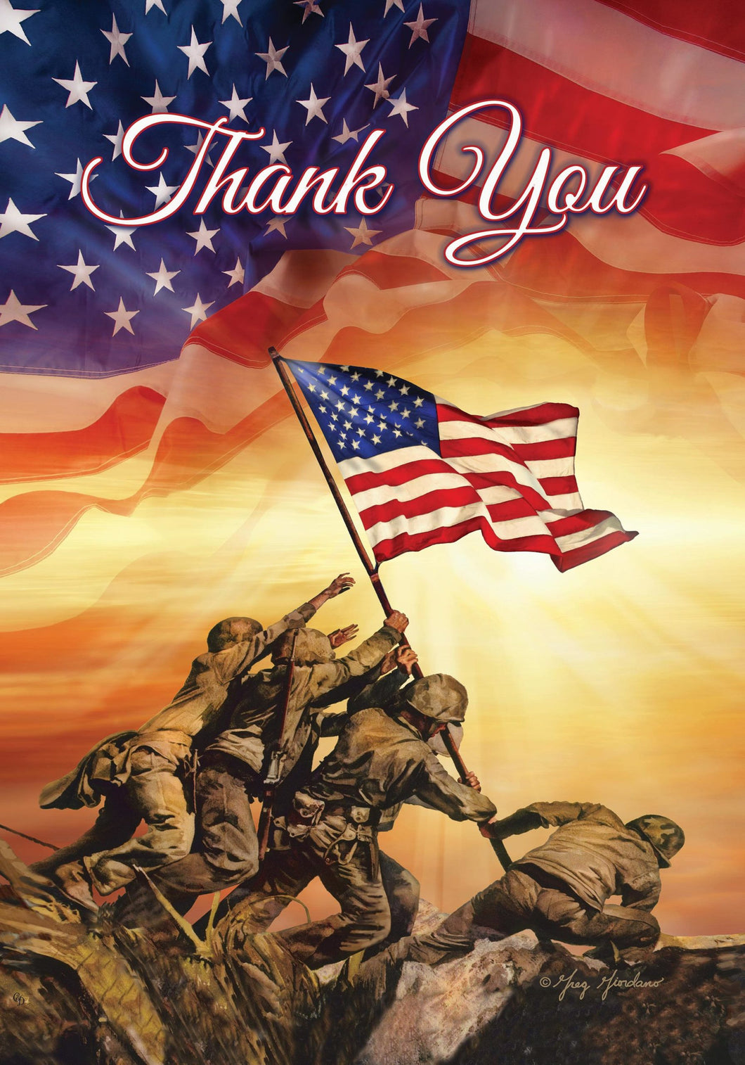 Thank You Troops  garden flag - Iwo Jima