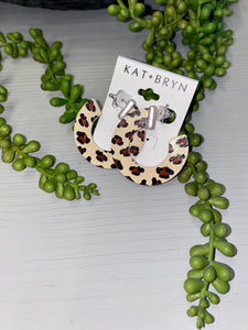 KAT+BRYN White Leopard Hoop Earrings