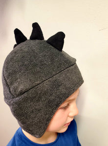 Kid's Charcoal Fleece Dinosaur Beanie
