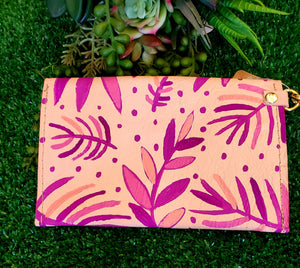 Pink Palms Handmade Leather Clutch
