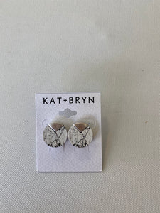 KAT+BRYN White Marble Studs