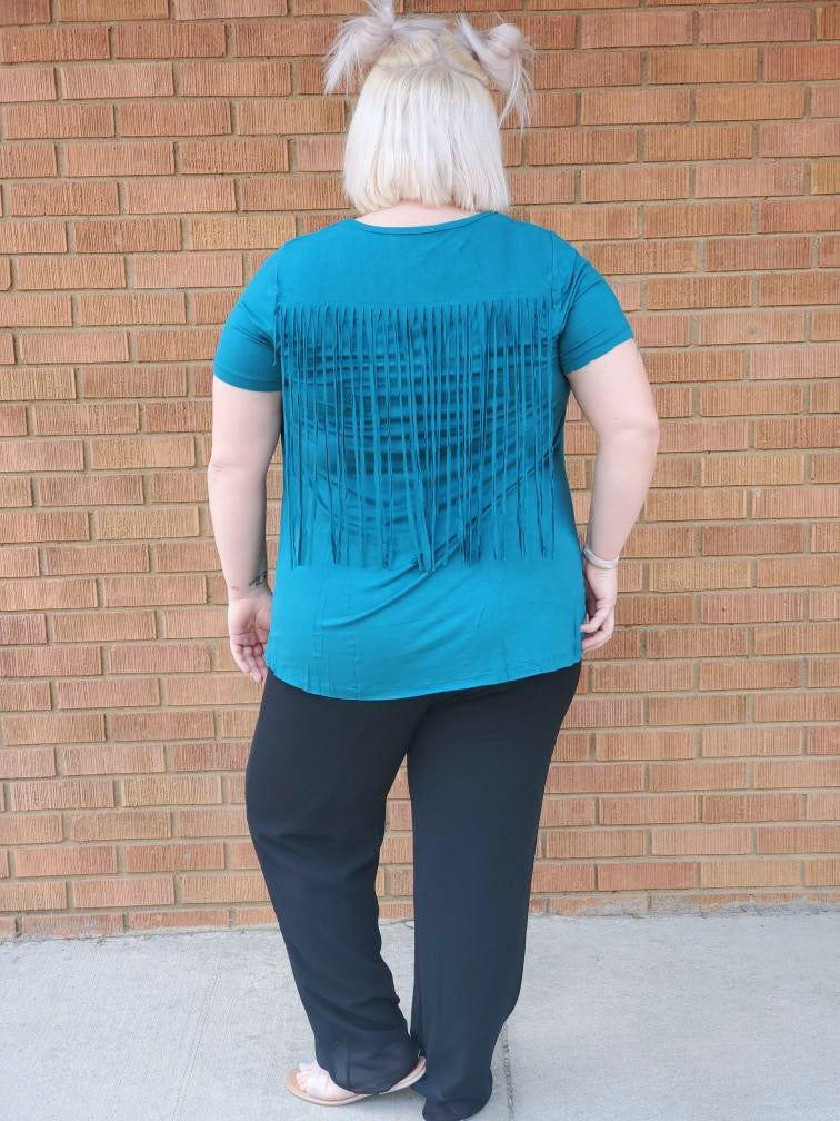 Jade Fringe Plus Size Top