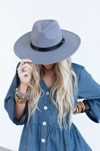 Dove Grey Venice Wide Brim Hat
