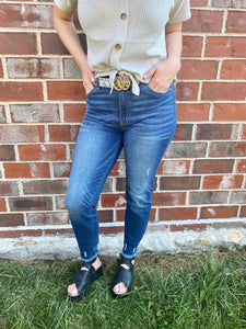 Grey Snakeskin Belt With Gold Buckle