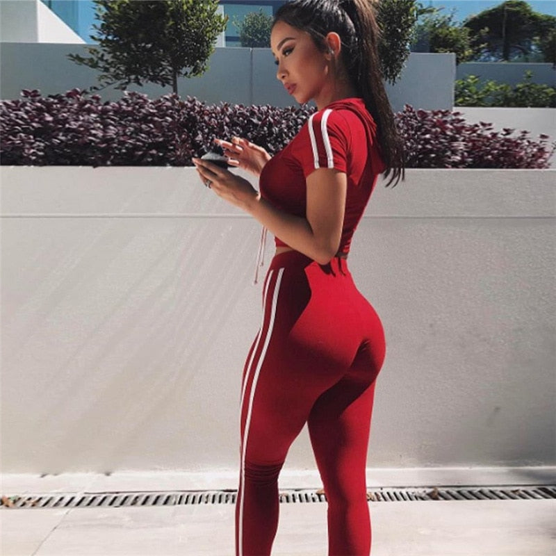 Womens Track Suit With Hood Crop Top And Legging Pants 2 Piece Set