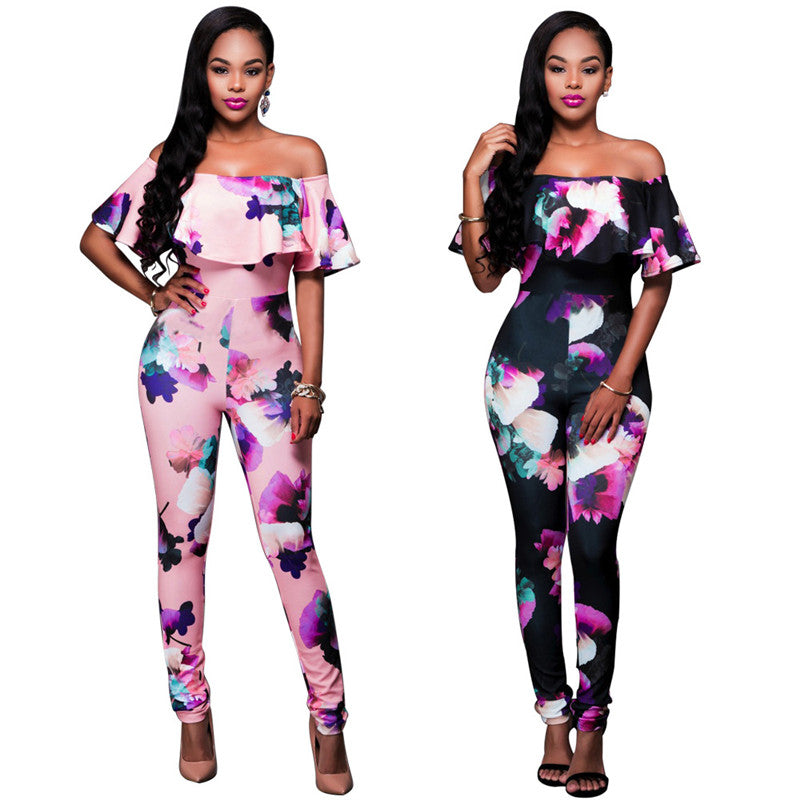 S 4xl Ruffle Off Shoulder Jumpsuit Womens Elegant Floral Big Plus