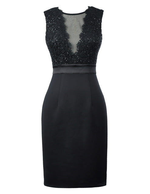 Black Bodycon Cocktail Dresses Knee Length Sexy Formal Occasion