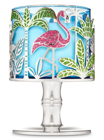 TROPICAL FLAMINGO Metal Candle Holder