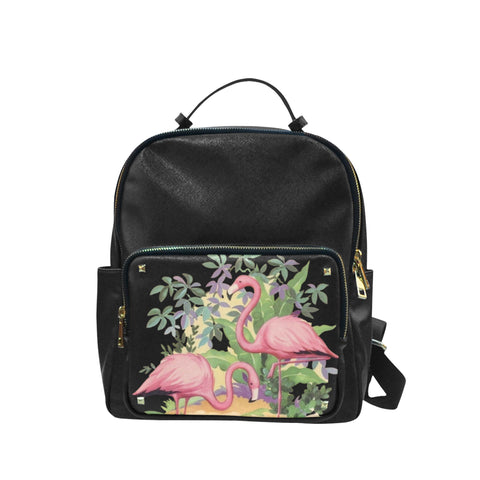 Elegant Flamingos in Paradise Taiga Leather Backpack