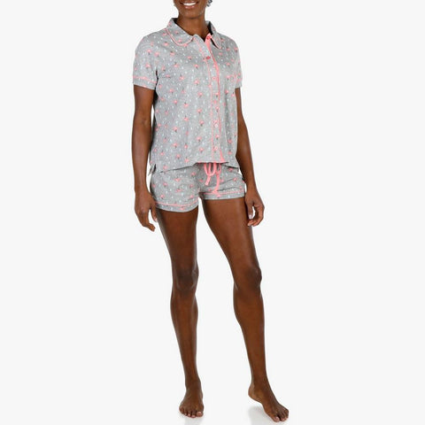 Izod Women's Flamingo Button Front Pajama Set - Grey - The Flamingo Shop