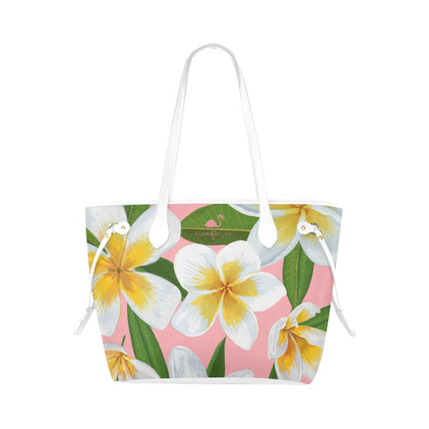 Flamingo Life Pink and White Plumeria Tote - The Flamingo Shop