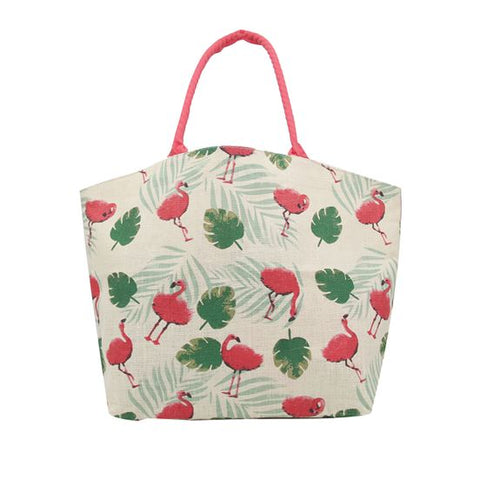 Flamingo Pattern Jute Tote