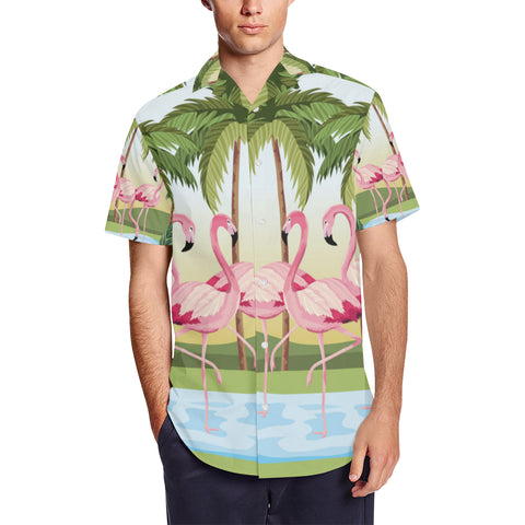 Tropical Flamingo Men's Short Sleeve Shirt With Lapel Collar
