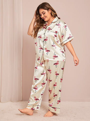 Plus Size Satin Flamingo Pajama Set
