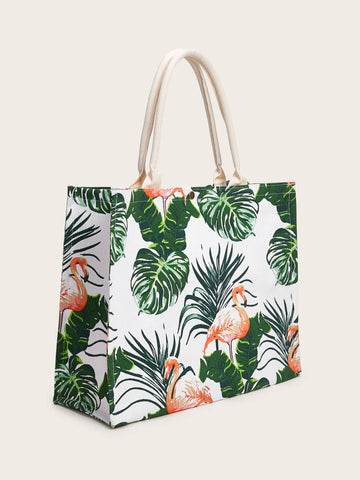 Tropical Print Canvas Tote Bag - The Flamingo Shop