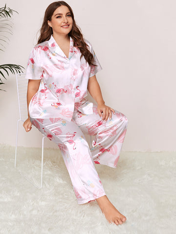 Plus Size Flamingo Satin PJ Set