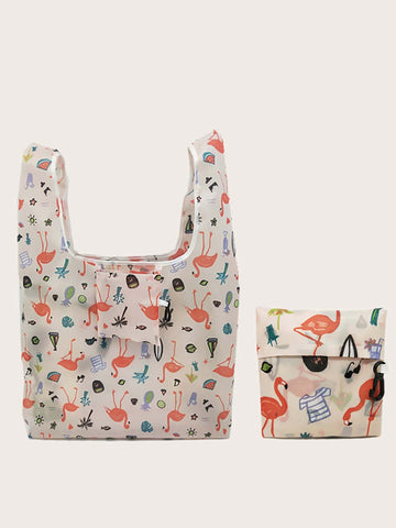 Reusable Washable Eco Friendly Folding Shopping Bag - The Flamingo Shop