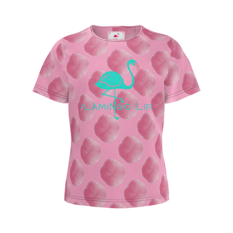 Flamingo Life Girls Pink Pom Pom Tee - The Flamingo Shop