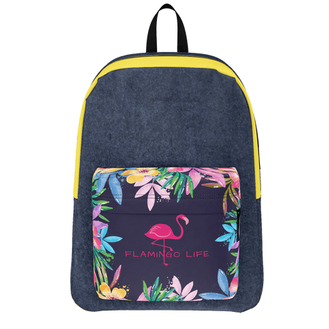 Flamingo Life Navy Yellow and Flowers Backpack - The Flamingo Shop