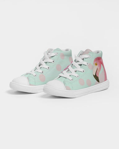 Flamingo Life - FLAMINGO FUN Kids Hightop Canvas Shoe - The Flamingo Shop