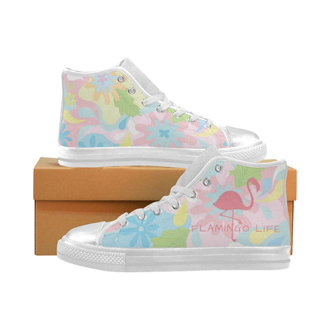 Flamingo Life Canvas High Top Canvas Women's Shoes - The Flamingo Shop