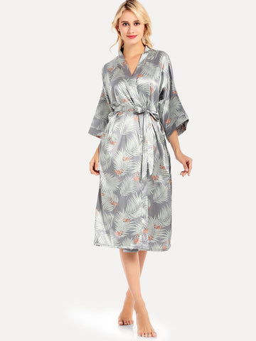 Flamingo & Tropical Print Belted Robe - The Flamingo Shop
