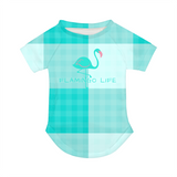Flamingo Life Green Plaid Doggie Tee - The Flamingo Shop