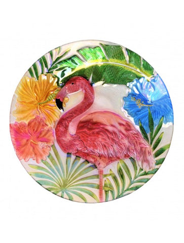 "18"" Holographic Painted Flamingo Glass Bowl - For Fountain, Birdbath, or Decor - The Flamingo Shop"