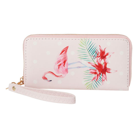 Pink Flamingo Wallet Wristlet Cell Phone Purse