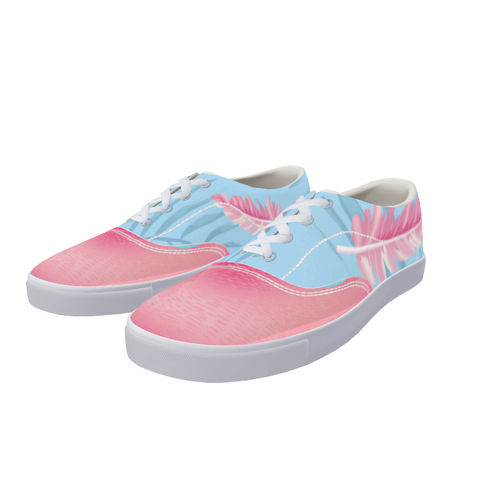 Flamingo Life Feathered Sneakers Lace Up Mens and Womens Canvas Shoe - The Flamingo Shop