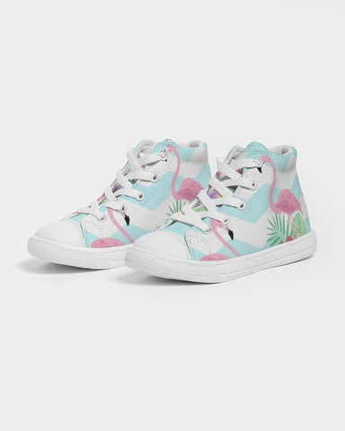 Flamingo Life Zig Zag Kids Hightop Canvas Shoe