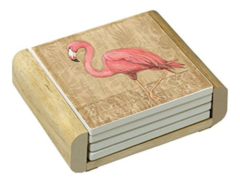 Wooden Flamingo Coasters Set of 4: Coasters - The Flamingo Shop