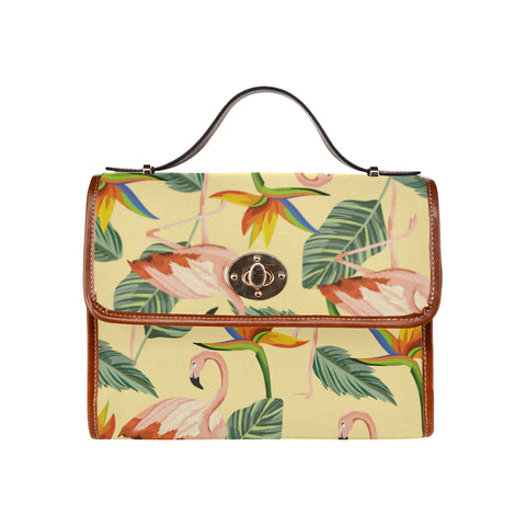 Tropical Yellow Flamingo Waterproof Canvas Bag