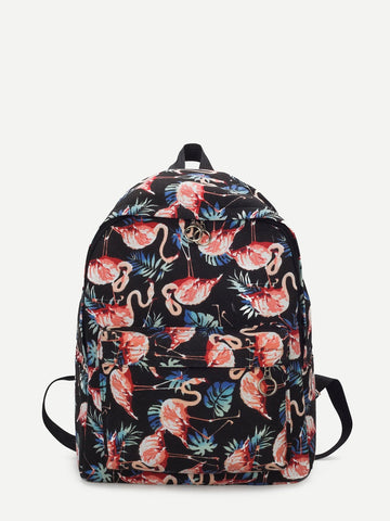 Flamingo Print Canvas Backpack - The Flamingo Shop
