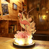 Snowkingdom Pink Flamingo Glass Dome LED Light with Preserved Fresh Flower on a Wooden Base - The Flamingo Shop