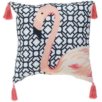 Flamingo Pillow with Tassels
