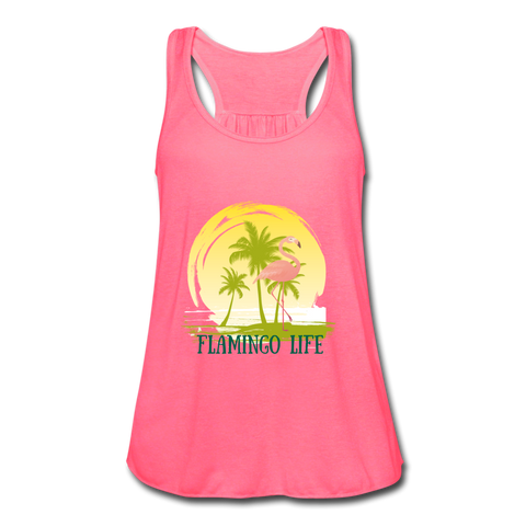 Women's Flowy Racerback Flamingo Life Tee - The Flamingo Shop