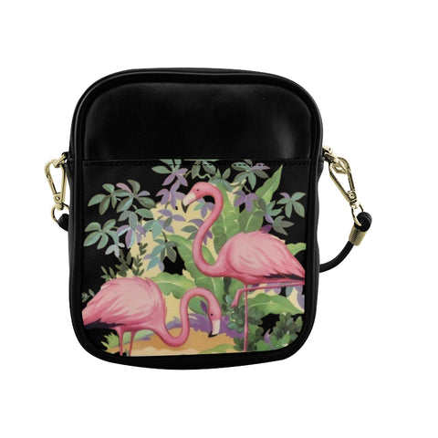 Elegant Flamingos in Paradise Mini Crossbody Bag